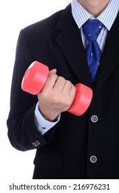 Smart businessman in business suit with dumbbell