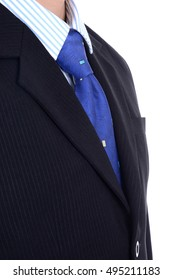 Smart businessman in business suit and tie side view