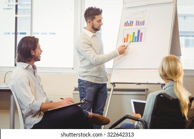 Smart businessman giving presentation as colleagues looking at it during meeting in creative office