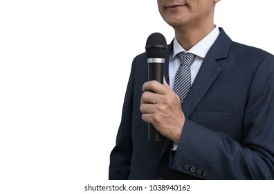 Smart businessman, good looking man in black suit speech and speaking with microphone, talk show, seminar spokesman, master of ceremonies,  isolated on white background