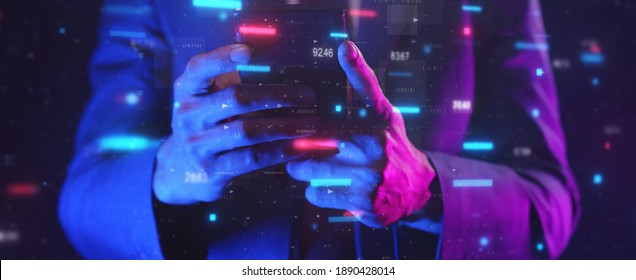 Smart businessman typing financial data on mobile phone with futuristic stock chart graphic, Business investor stock exchange market and crypto currency digital technology ideas background