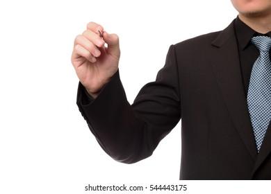 Smart businessman write something on screen interface.