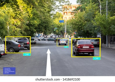 Smart car with artificial intelligence. Recognize cars and pedestrians. Accident prevention by computer. Unmanned car