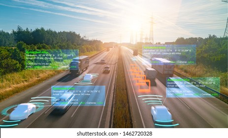 Smart car (HUD) , Autonomous self-driving mode vehicle on highway road iot concept with graphic sensor radar signal system and internet sensor connect.
