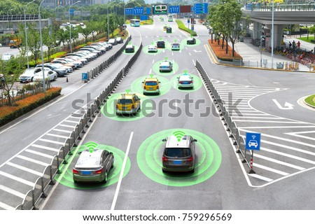 Smart car (HUD) and Autonomous self-driving mode vehicle on metro city road with graphic sensor signal.