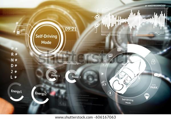 Концепция смарт-автомобиля (HUD). Пустой кокпит в автомобиле и самовольный режим автомобиля графический экран с факельным светом