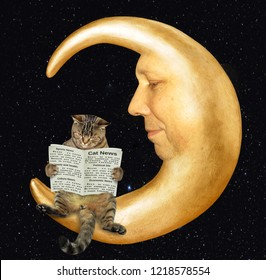 The smart cat is reading a newspaper on the moon.