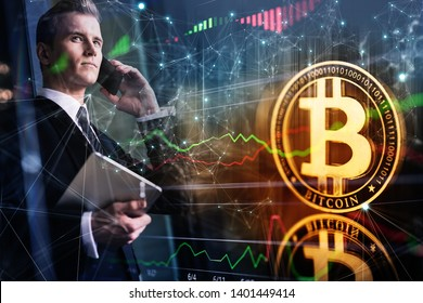 smart caucasian businessman black suit hand hold speaking smartphone with bitcoin crypto currency ideas concept and virtual financial chart diagram