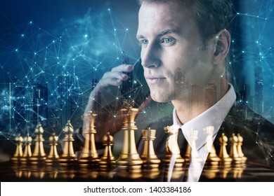 smart caucasian businessman black suit hand hold speaking smartphone with chess board virtual icon graphic business strategy ideas concept