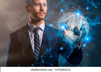 smart caucasian businessman hand touch world map virtual screen comunication global connecting ideas concept