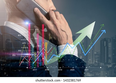 smart caucasian businessman white collar hand hold smartphone double exposure with financial stock chart busines financial ideas concept