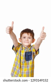 Smart child showing thumbs up in light background. Sucess concept.