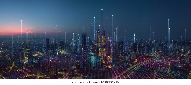 Smart city and abstract dot point connect with gradient line and aesthetic Intricate wave line design , big data connection technology concept . - Shutterstock ID 1499306735