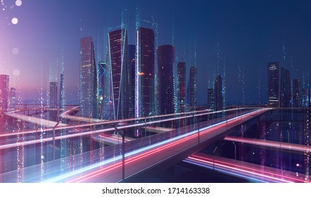 Smart city and abstract dot point connect with line design ,big data connection technology concept .Blur effect is applied.