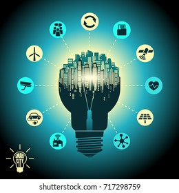Smart city - cityscape in silhouette light bulb with advanced smart services, the Internet of things, social networking