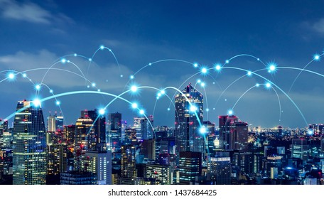 Smart city and communication network concept.