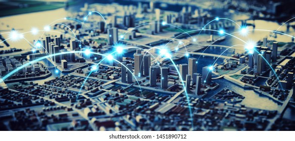 Smart city and communication network concept. Design model of city.