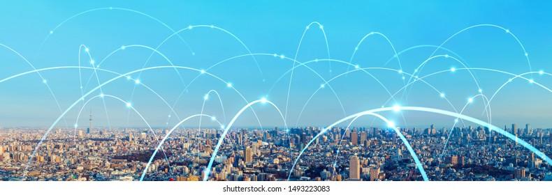 Concept de ville intelligente et de réseau de communication. 5G. LPWA (Basse Puissance). Communication sans fil.