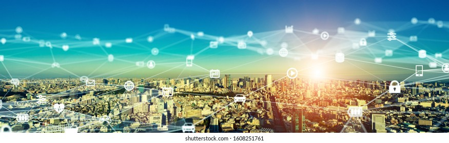Smart city and communication network concept. 5G. LPWA (Low Power Wide Area). Wireless communication.