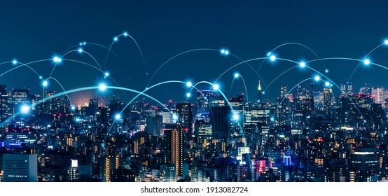 Smart city and communication network concept. 5G. LPWA (Low Power Wide Area). Wireless communication. - Shutterstock ID 1913082724