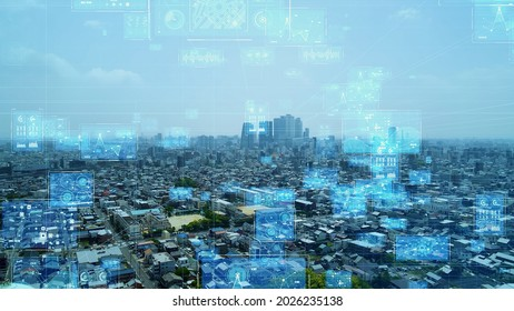 Smart city and communication network concept. Digital transformation.