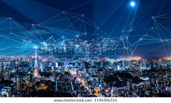 Smart city and communication network concept. IoT(Internet of Things). ICT(Information Communication Network).