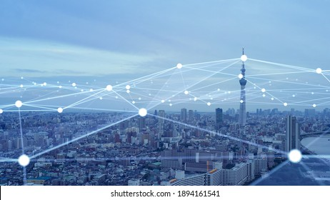 Smart city and communication network. Digital transformation. IoT (Internet of Things). ICT (Information Communication Technology).