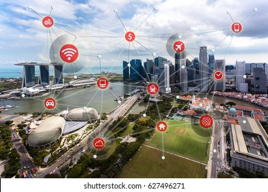Smart City concept, Wireless communication network and transportation with Modern Building background