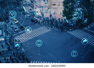 Smart city conceptual, blurred scene of people in urban area lifestyle with icon of technology