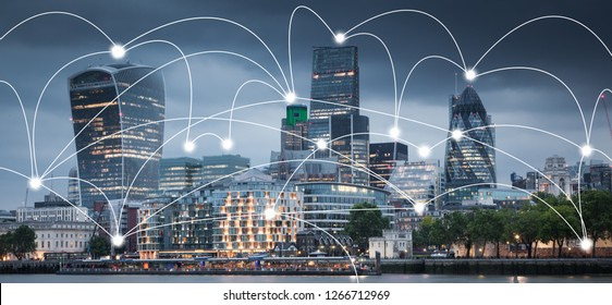 smart city and connection lines. Internet concept of global business, London, UK