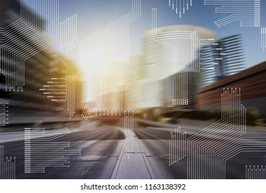 Smart city with contemporary buildings, traffic, networks, connection and internet of things icons on top .