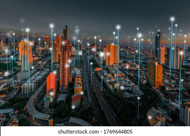 Smart city and dot point connect Modern Telecom System ,Boundless connection technology concept.