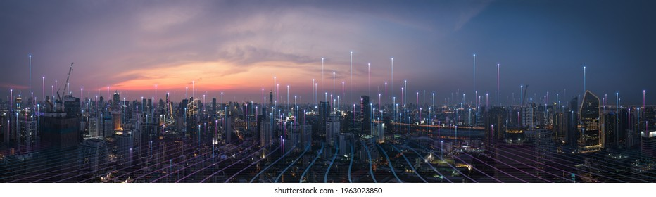 Smart city dot point connect with gradient line, connection technology concept. Bangkok, Thailand night city banner with big data.