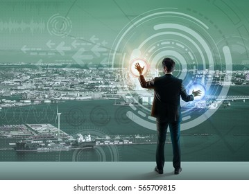 smart city and futuristic graphical user interface, abstract image visual