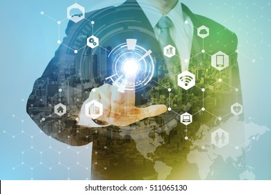 smart city and internet of things abstract. business person and technology concept, IoT(Internet of Things), ICT(Information Communication Technology), CPS(Cyber-Physical Systems), abstract