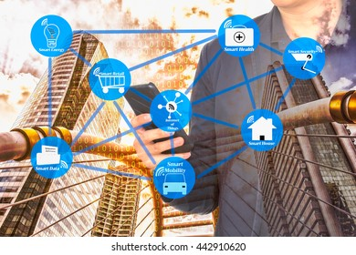 The smart city with internet of things technology concept. Smart city wireless network against double exposure of man using smart phone and city infrastructure with binary code background.