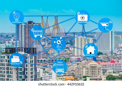 The smart city with internet of things technology concept. Smart city wireless network against city infrastructure background.