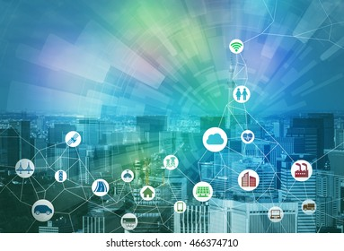 smart city and internet of things, various communication devices, architecture, transportation, industry, infrastructure,medical, home electronics, smart grid, abstract image visual