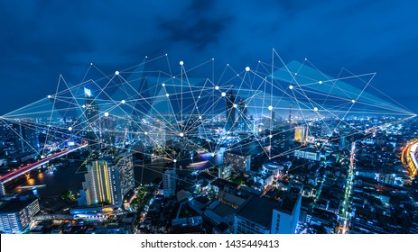 Smart city and internet of things, wireless communication network, abstract image visual,IoT Internet of Things,5G network digital hologram.