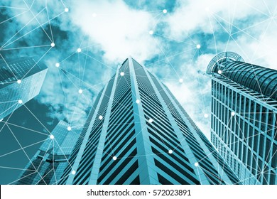 Smart city and internet of things, wireless communication network line on city building background