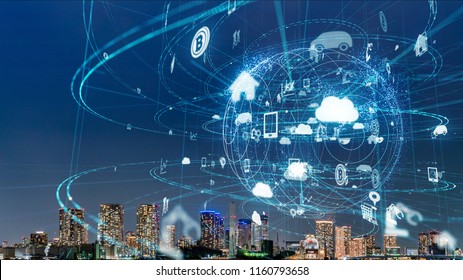 Smart city and IoT (Internet of Things) concept. ICT (Information Communication Technology).