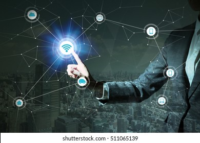 smart city and IoT(Internet of Things). business person and technology concept, a woman holding her hand, ICT(Information Communication Technology), CPS(Cyber-Physical Systems), abstract