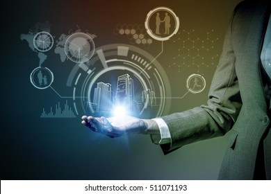 smart city and modern lifestyle concept, a woman holding her hand, IoT(Internet of Things), ICT(Information Communication Technology), CPS(Cyber-Physical Systems), abstract