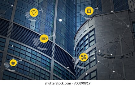 Smart city network and building on background. Modern technology concept