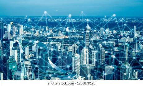 Smart city and network communication. And data transformation on public.