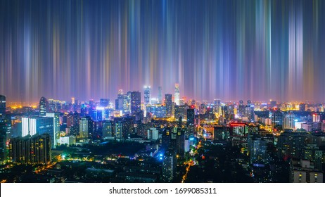 Smart city at night and abstract line. Big Data Connection Technology Concept. Beijing.