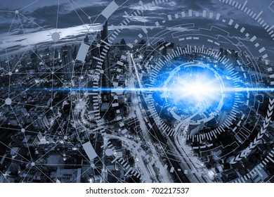 Smart city on blue tone cityscape and network connection information communication technology, abstract cityscape image visual, internet of things concept.