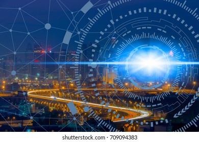 Smart city on cityscape background and network connection information communication technology, abstract cityscape image visual, internet of things concept.