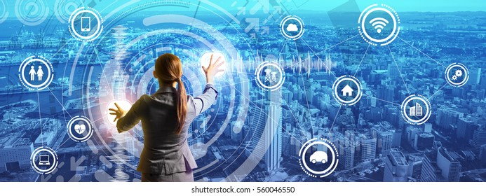 smart city panorama and business person controlling futuristic GUI, abstract image visual
