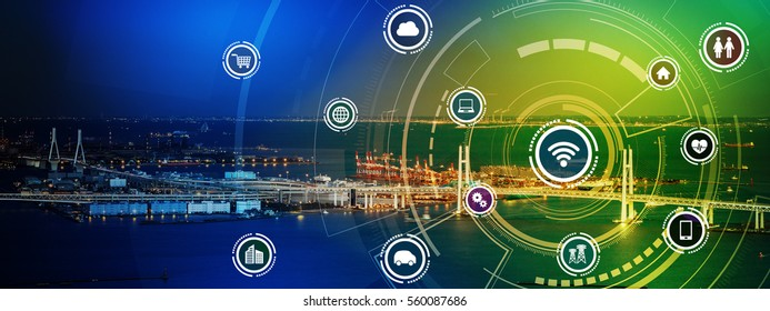 smart city panorama and wireless communication network concept, Internet of Things, Information Communication Network, rectangular image visual